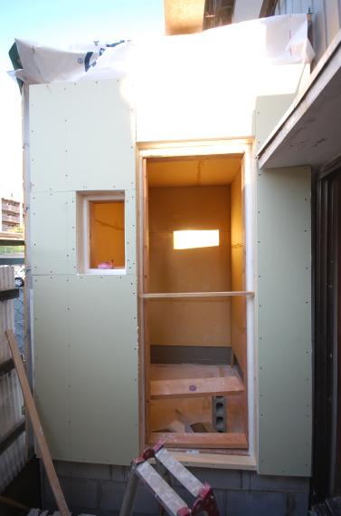 防音室入り口ユニット 耐水石膏ボード2重張り