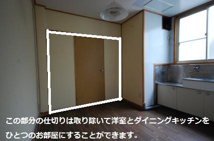 角部屋ワンルームマンション 洋室との間仕切りは取り除けます