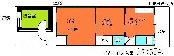 専用の別棟3畳の防音室付2Kマンションのお部屋B101の間取り図