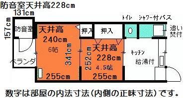 完全防音室付き防音ハイツ平面図お部屋の内法寸法