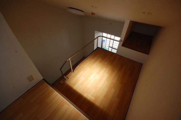 思いっ切り高いロフト付きアパート 南向き天窓から陽光が差し込みます