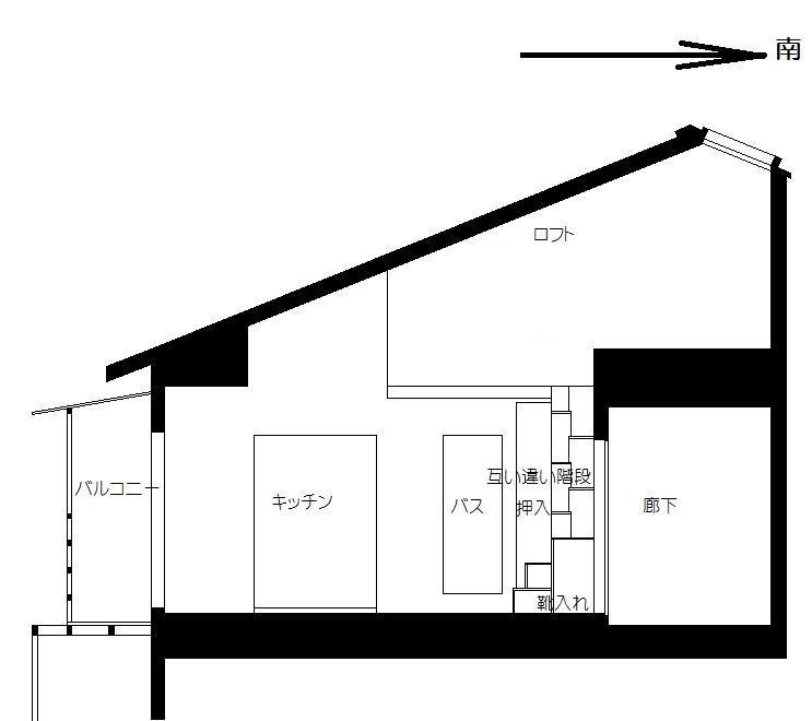 思いっ切り高いロフト付きアパート ロフト断面説明図