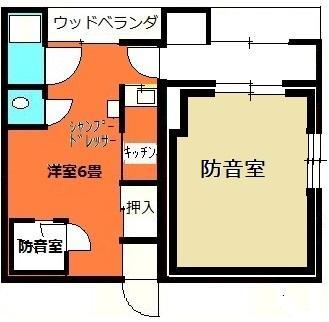 8畳大の防音室のお部屋の間取り図