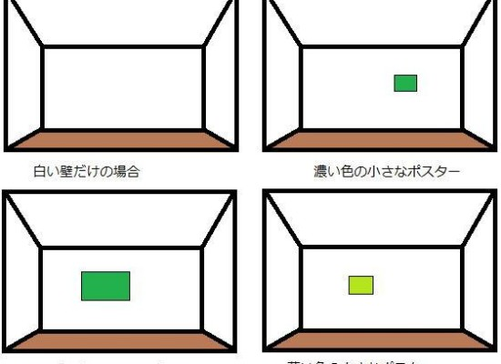 部屋の奥行きを作るために小さな濃い色が良いのでは