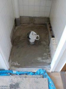 洋便器への取り替え 床のコンクリート金鏝押さえ