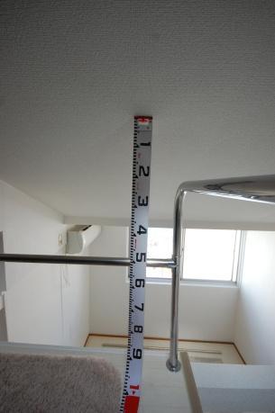 ロフト付きアパートのロフトの大きさ ロフトの低いところ