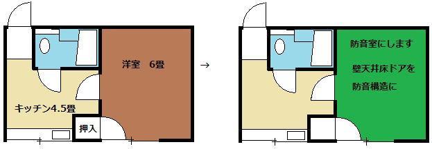 アパートのお部屋を防音室にします