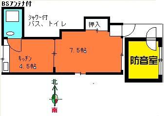 別棟2重壁防音室付1DKマンション間取り図