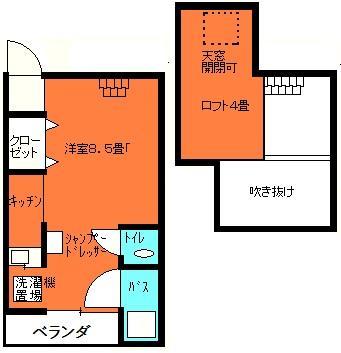 ロフト付きアパート間取り図C48