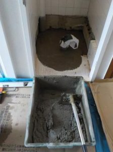 洋便器への取り替え 床のコンクリート打ち