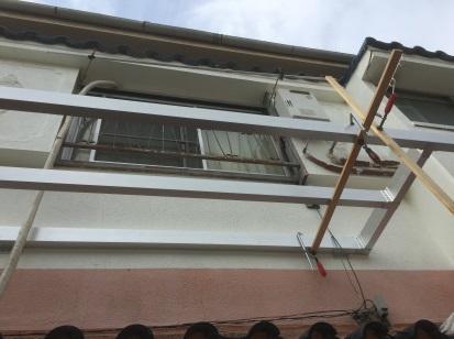 ベランダの自作新設 床組梁の仮取付